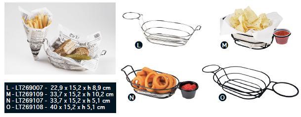 Овальные корзинки с держателем для соусника из нерж. стали